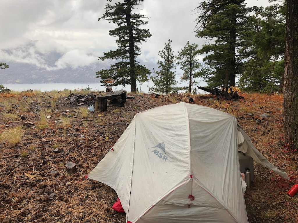 Camp overlooking Okanagan Lake